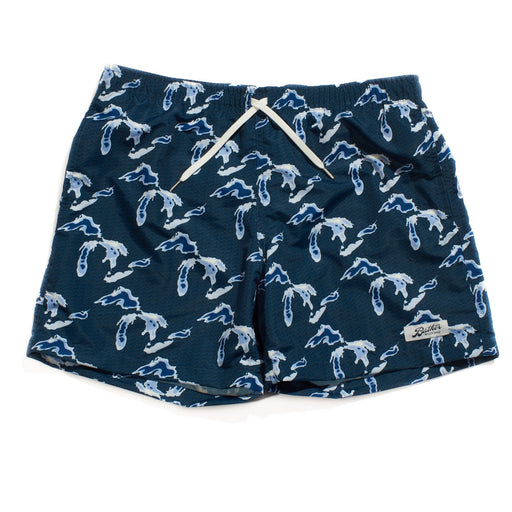 Swim Trunks - Navy Great Lakes Print