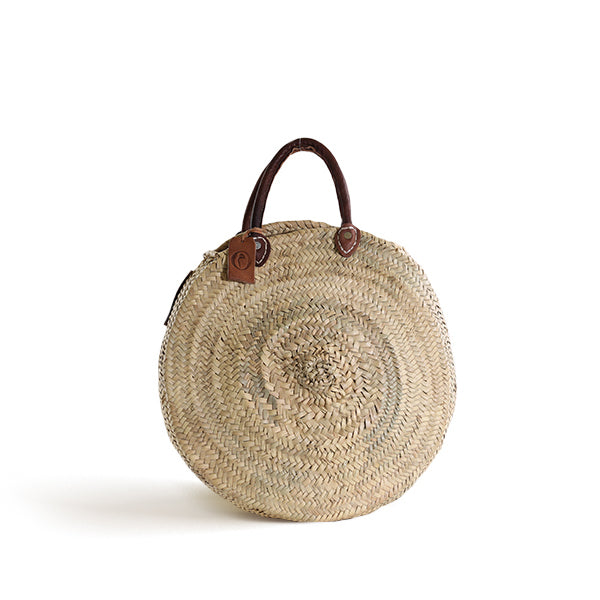 CUSTOM - Panier Round Large Marche with Leather Handles