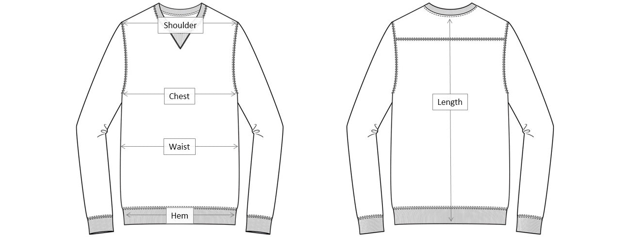 Sweater Dimensions Diagram