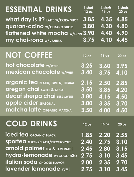 hot and cold drinks