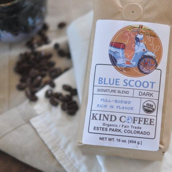 Bag of dark roast coffee, full-bodied, rich in flavor