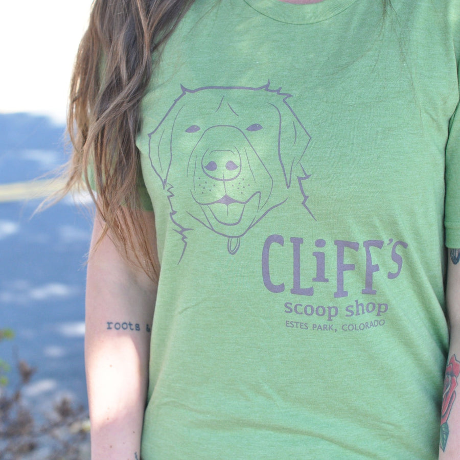 "Green T-Shirt, ""Cliff's Scoop Shop"", Clifford the dog's face in the center"