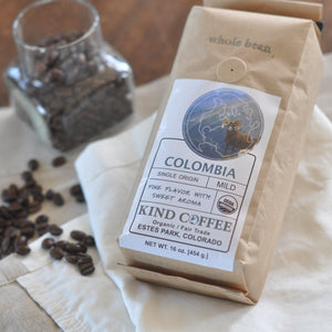 Bag of mild roast coffee, fine flavor with sweet aroma. Organic, fair trade