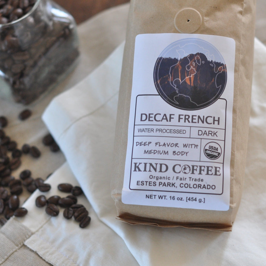 Bag of decaf, dark roast coffee. Deep flavor with medium body. Organic, fair trade.