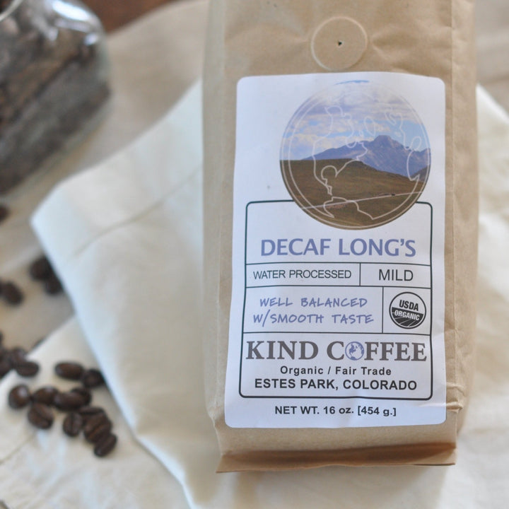 Bag of decaf, mild roast coffee. Well balanced with smooth taste. Organic, fair trade.