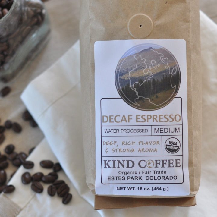 Bag of decaf, medium roast espresso blend. Deep, rich flavor and strong aroma. Organic, fair trade.