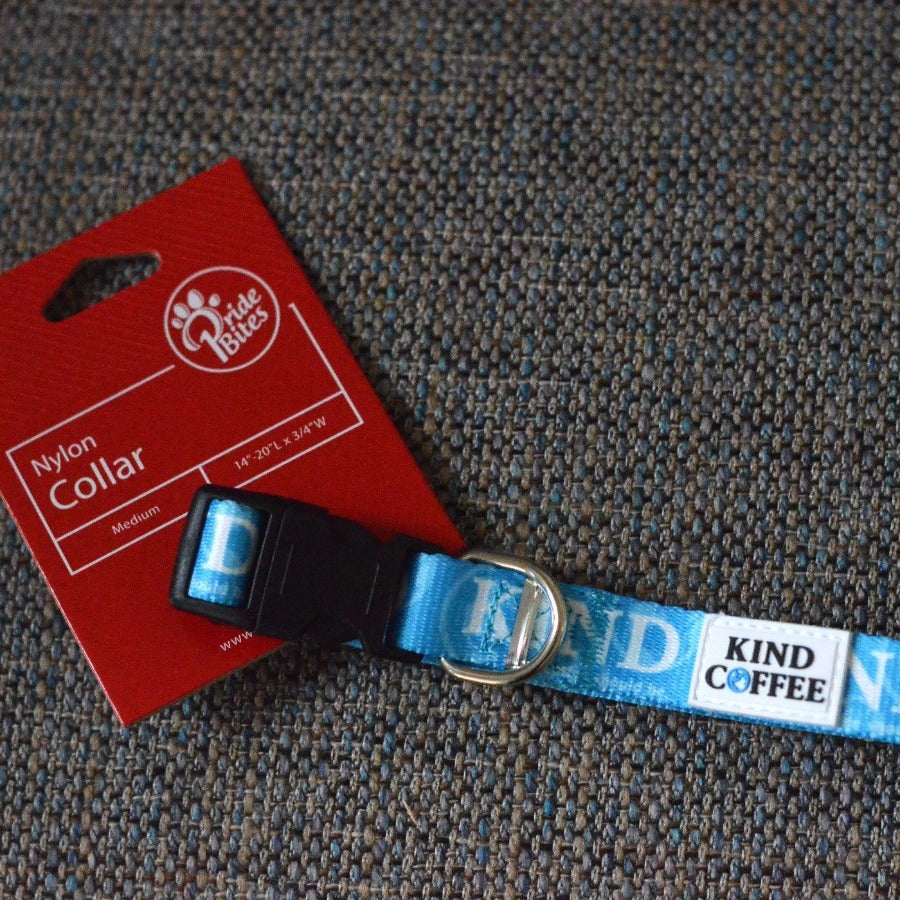 Blue Nylon dog collar with Kind Coffee logo