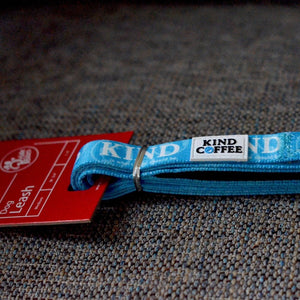 Blue Nylon 6 foot dog leash with Kind Coffee logo