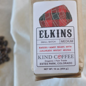 Bag of medium roast coffee. Barrel-aged beans with Colorado whisky aroma. Organic, fair trade.