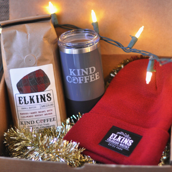 Box with 1 pound bag of Elkins coffee, Estes Park travel mug, and Elkins red or black beanie