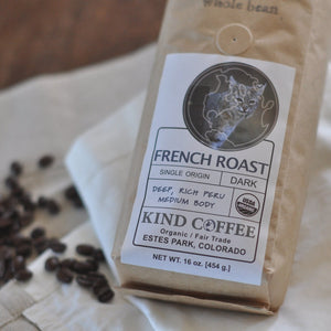 Bag of single origin dark roast coffee - deep, rich peru medium body. Organic, fair trade.