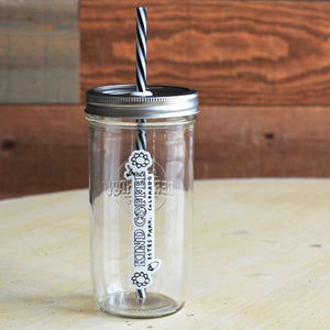 Glass Jar with Reusable Straw