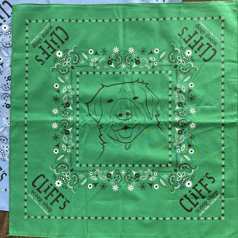 "Green bandana, ""Cliff's Scoop Shop"", Clifford the dog's face in the center"