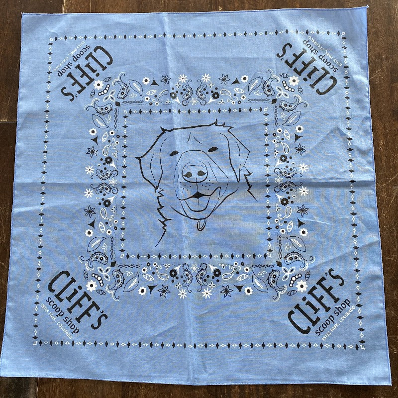 "Blue bandana, ""Cliff's Scoop Shop"", Clifford the dog's face in the center"