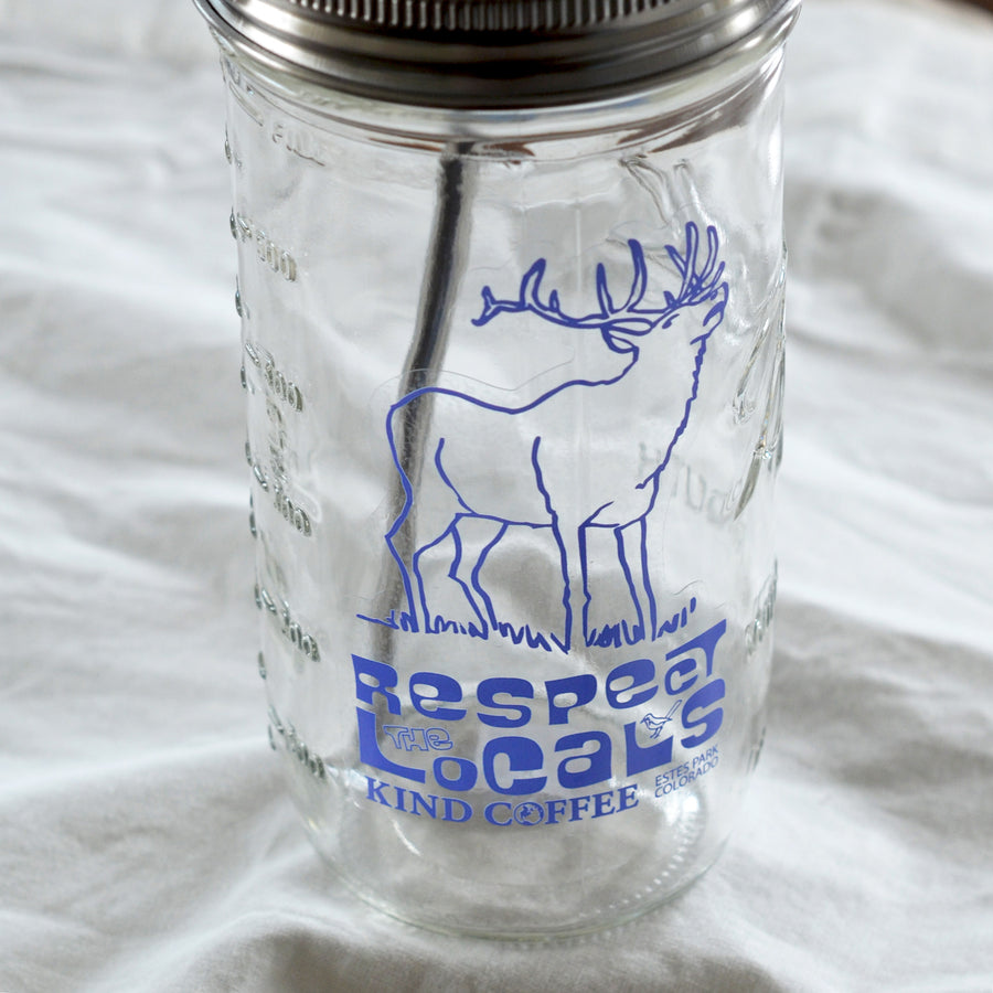 Respect the Locals Glass Jar w/ Reusable Straw