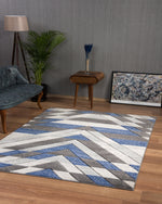 Asher Modern Rug | Grey & Blue