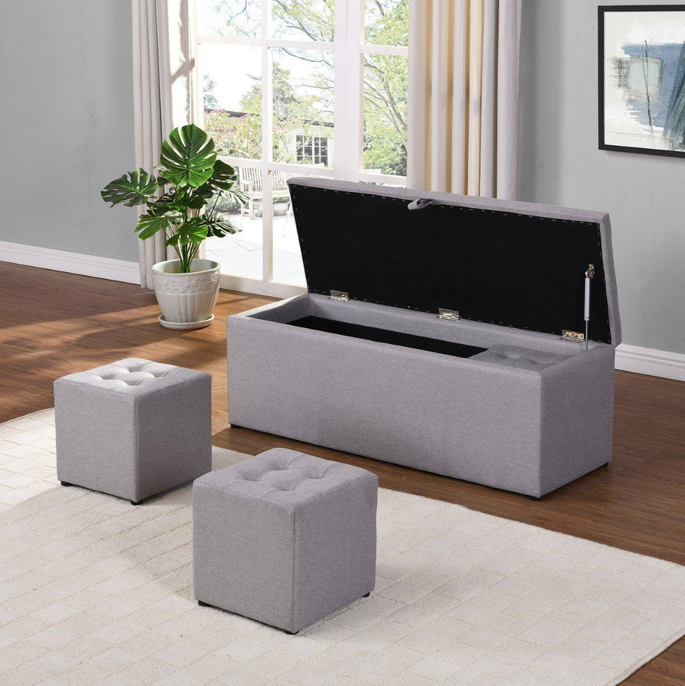 Grey Blanket Box | 4 Piece Blanket Box Set