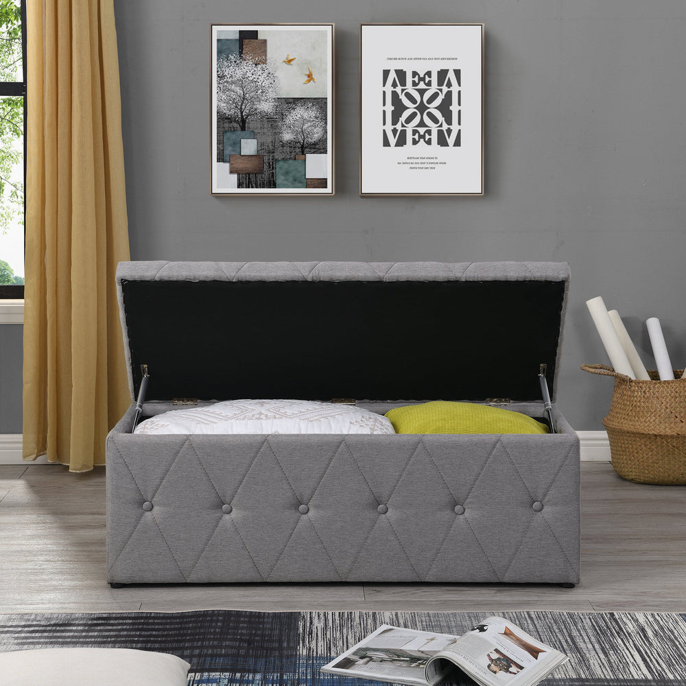 Grey Blanket Box | Blanket Box with Buttons
