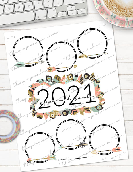printable personal goals vision board planner insert for the happy planner or erin condren