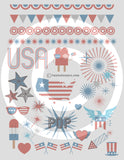 4th of July Patriotic Themed Printable Planner Stickers or Tattoos