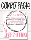 COMBO PACK: 20 Clear Glossy + 20 White Glossy Sticker Paper Sheets for Planner Stickers & Decals - FAST, FREE SHIPPING!