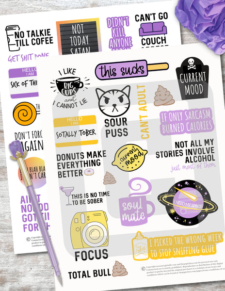 Sarcastic & Sassy Printable Planner Stickers