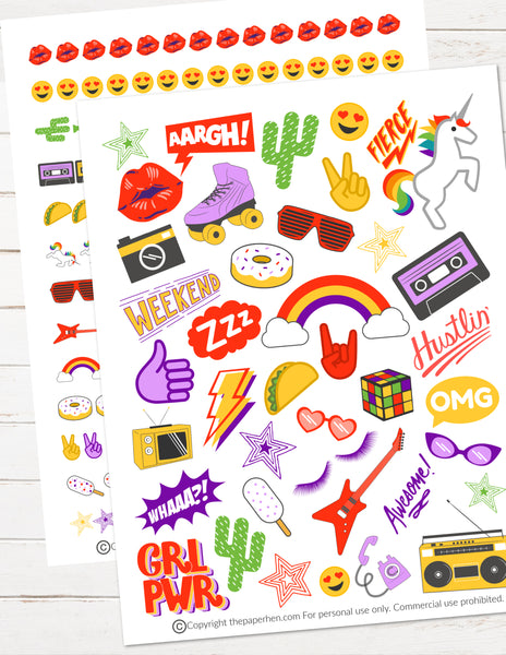 retro 80s 90s printable planner stickers throwback