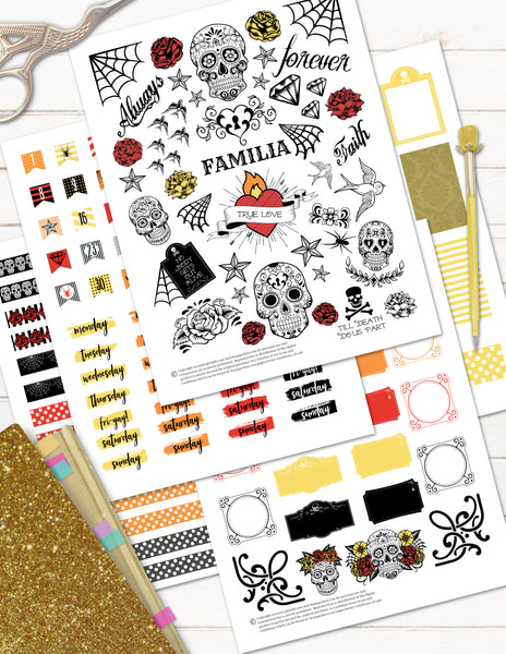 day of the dead planner stickers for halloween