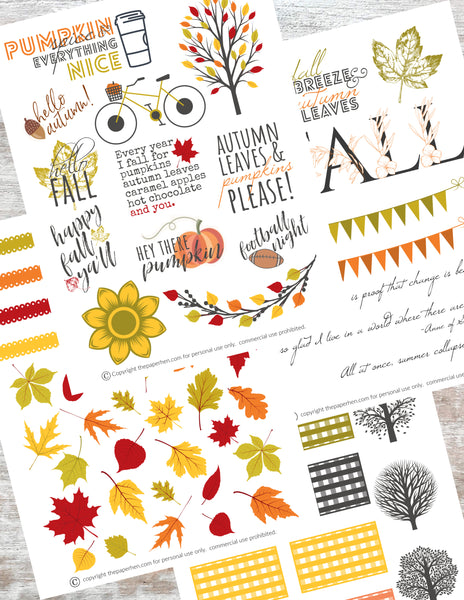 Printable Happy Planner Stickers for Fall, Autumn or Halloween in Bright Colors