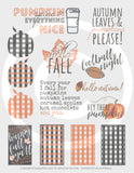 Printable Happy Planner Stickers for Fall, Autumn or Halloween