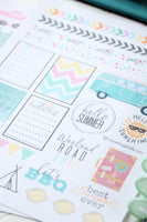 Summer Vacation and Beach Themed Printable Planner Stickers or Tattoos