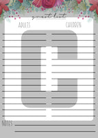 printable christmas holiday guest list planner