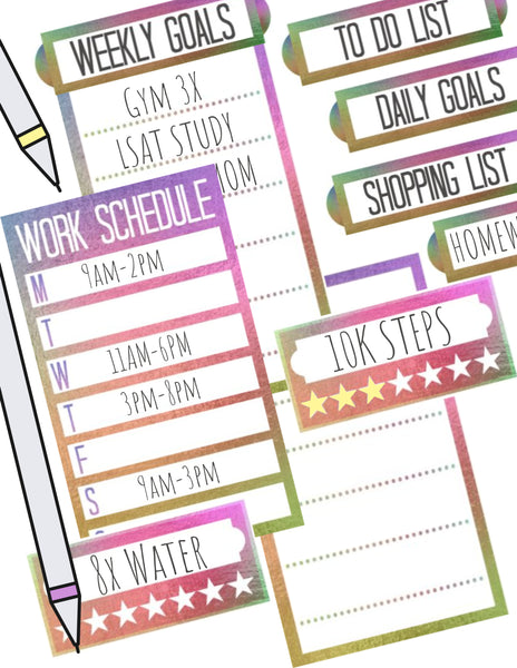 Rainbow Functional Happy Planner Stickers With Blank Lists, Goals & Habit Tracker
