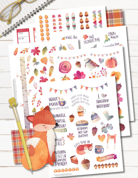 printable fall planner stickers for planner decorating