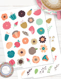 floral printable planner stickers for spring and summer