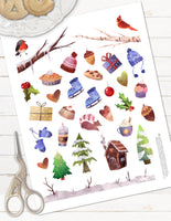 winter holiday or christmas planner stickers