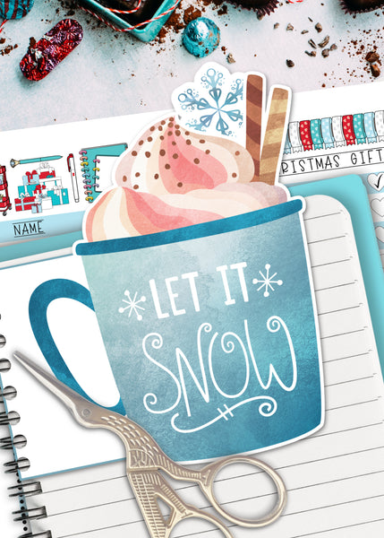 Let it Snow Hot Coffee Cocoa Mug Printable Planner Tab Divider Die Cut Page Marker