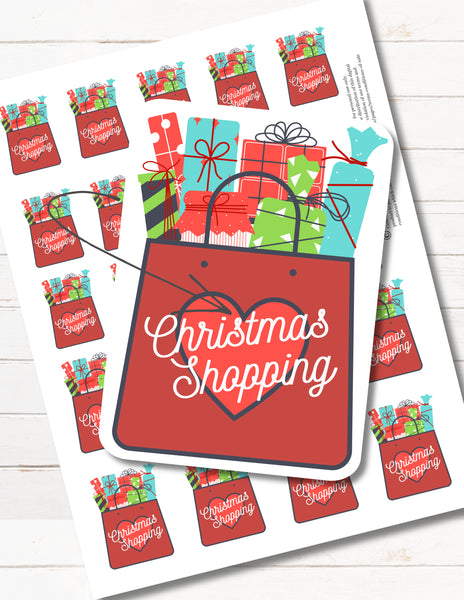 Printable Christmas Shopping Happy Planner Reminder Stickers for Mini, Classic, Big Planners