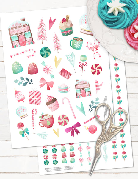 printable Christmas planner stickers candy gingerbread theme