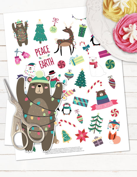 Woodland Christmas Printable Planner Stickers