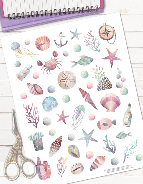 beach sea shell printable planner stickers