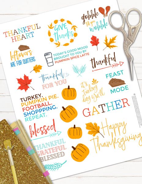 printable thanksgiving planner stickers