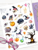 printable halloween stickers witch magic potions