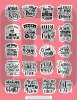 sarcastic and sassy printable planner stickers for wine lovers