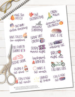 Printable Fall Bucket List Planner Stickers for Planner Decorating happy planner or erin condren
