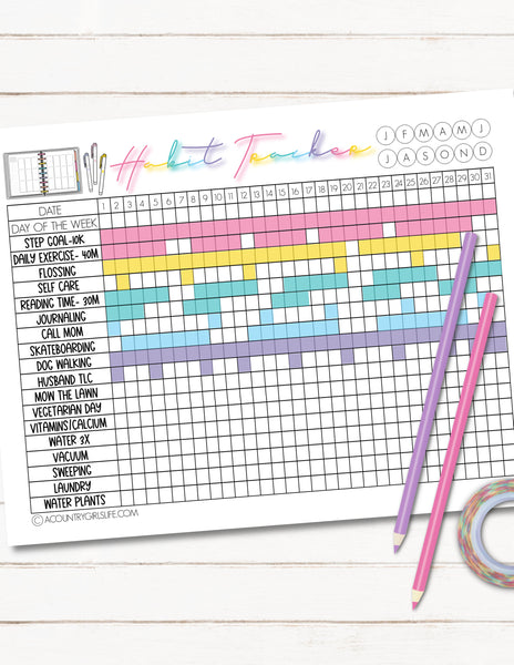 printable habit tracker sheets for goal setting