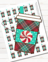 printable christmas coffee peppermint latte planner stickers that look like starbucks cups