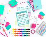 Rainbow Monthly Habit Tracker - Printable Rainbow Stickers For The Happy Planner