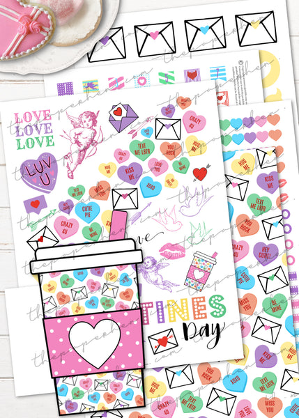 Valentines Day Planner Stickers Conversation Hearts Mega Pack - Washi, Tab Dividers, Boxes & Digital Paper PDF SVG PNG