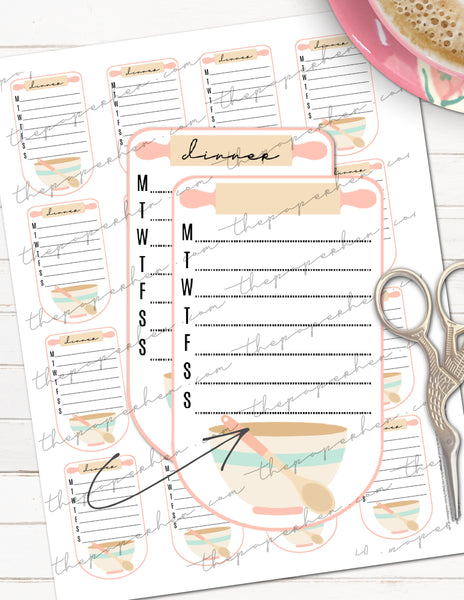 printable weekly meal planning planner stickers
